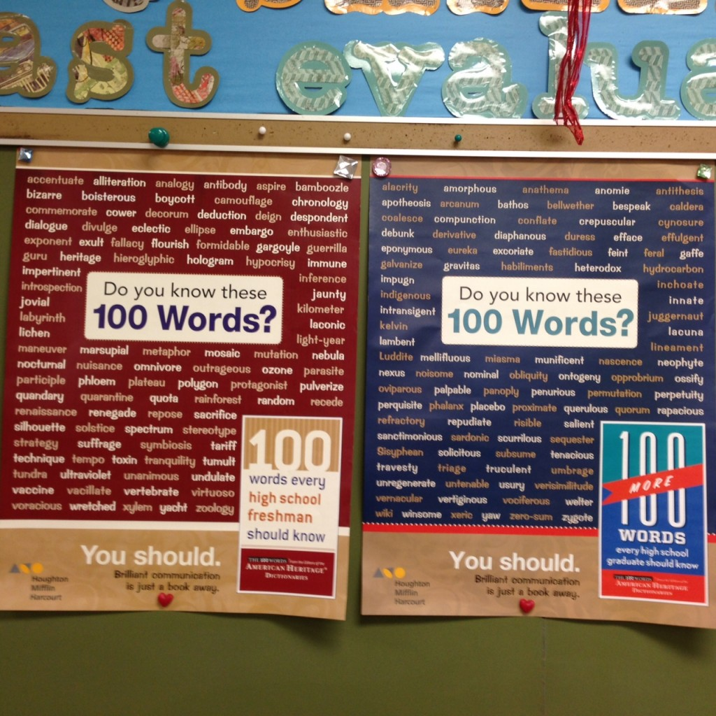 Take a look at the posters in the front of the room. One poster is labeled 100  Words Every High School Freshman Should Know and the other is 100 Words  Every ...